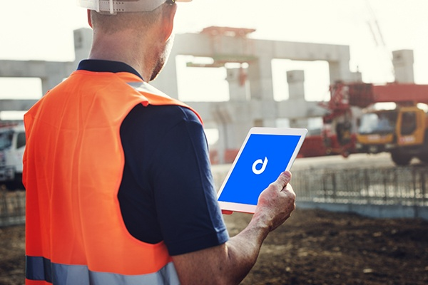 Device Magic mobile forms app on tablet in construction field